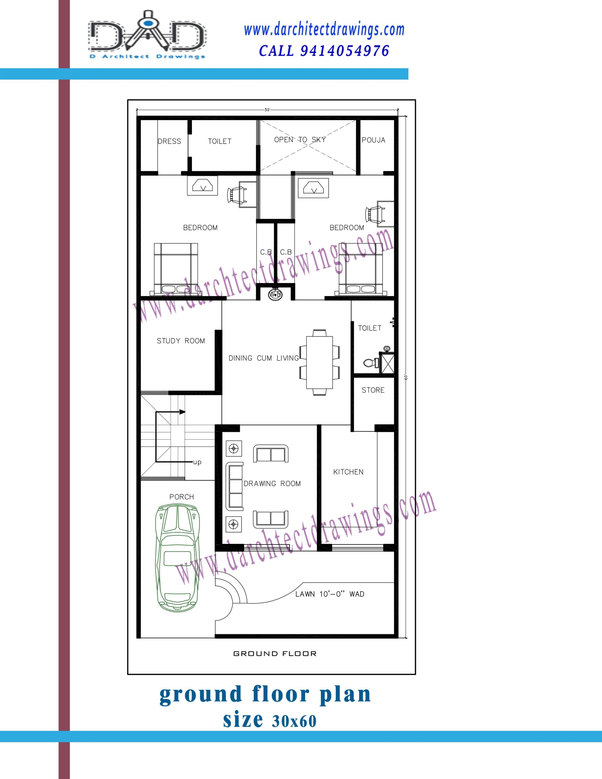 Floor Plan for 30 X 65 Feet Plot